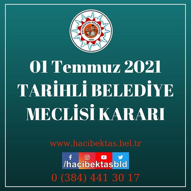 01 Temmuz 2021 Tarihli Belediye Meclisi Kararları.