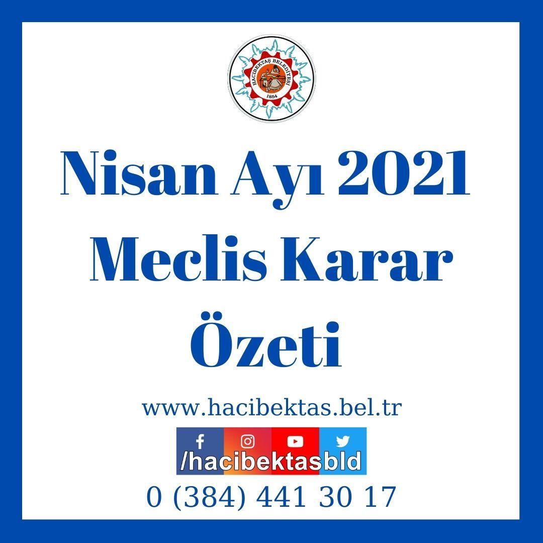Nisan Ayı 2021  Meclis Karar Özeti