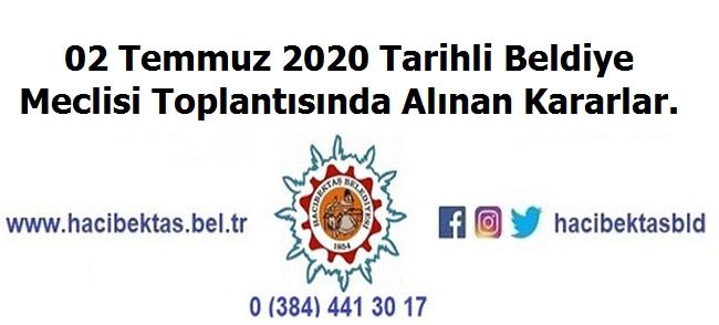 02 Temmuz 2020 Tarihli Belediye Meclis Kararları.